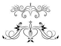 Sistema del ornamento floral blanco y negro Fotografía de archivo