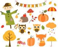Sistema del otoño de elementos del diseño y de animales de la historieta Fotografía de archivo
