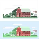 Sistema del paisaje de la casa de la granja Imagenes de archivo