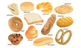 Sistema del pan ilustración del vector