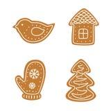 Sistema del pan de jengibre de la Navidad Foto de archivo libre de regalías