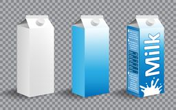 Sistema del paquete realista del cartón de la leche Diseño de paquete de la leche con diversas etiquetas aisladas Producto lácteo ilustración del vector