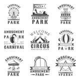 Sistema del parque de atracciones de los emblemas del vintage del vector, etiquetas, insignias, logotipos Fotos de archivo
