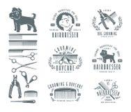 Sistema del peluquero para el perro insignias y elementos del diseño Imagenes de archivo