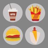 Sistema del perrito caliente de la hamburguesa de la patata del café de los alimentos de preparación rápida de los iconos en un f Fotos de archivo libres de regalías