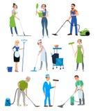 Sistema del personal de la compañía de la limpieza ilustración del vector