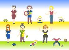 Sistema del pixel de los caracteres Fotos de archivo