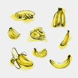 Sistema del plátano y de la rebanada Imagenes de archivo