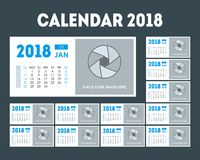Sistema del planificador de eventos 2018 del calendario de la historieta Vector Fotografía de archivo libre de regalías