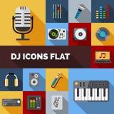Sistema del plano de los iconos de DJ Fotografía de archivo libre de regalías