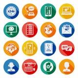 Sistema del plano de los iconos de la ayuda Imágenes de archivo libres de regalías