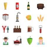 Sistema del plano de los iconos de la cerveza Fotografía de archivo