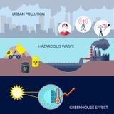 Sistema del plano de los iconos de la contaminación libre illustration