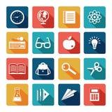 Sistema del plano de los iconos de la educación Fotografía de archivo libre de regalías