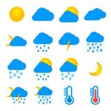 Sistema del plano de los iconos de los símbolos de la previsión metereológica y de la meteorología Fotos de archivo