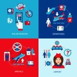 Sistema del plano de los iconos del aeropuerto Imagen de archivo