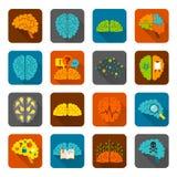 Sistema del plano de los iconos del cerebro Foto de archivo libre de regalías