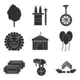 Sistema del plano de los iconos del circo Imagenes de archivo
