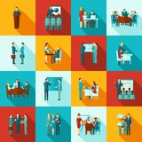 Sistema del plano de los iconos del entrenamiento del negocio libre illustration
