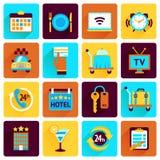 Sistema del plano de los iconos del hotel Fotografía de archivo libre de regalías