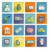 Sistema del plano de los iconos del servicio de banco Fotografía de archivo