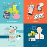 Sistema del plano de los iconos del servicio de banco Imagen de archivo libre de regalías