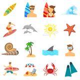 Sistema del plano de los iconos que practica surf Imagenes de archivo