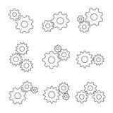 Sistema del plano del esquema del engranaje Fotografía de archivo