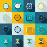 Sistema del plano del icono del reloj Fotografía de archivo libre de regalías