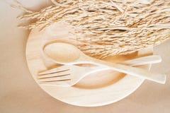 Sistema del plato y arroz de arroz de madera Fotografía de archivo libre de regalías