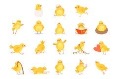 Sistema del pollo amarillo divertido en diversas situaciones Personaje de dibujos animados de poco pájaro de la granja Diseño pla ilustración del vector