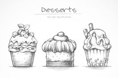 Sistema del postre Iconos del alimento Torta, helado, magdalena, dulces Ejemplo del vector de la colección del bosquejo del lápiz ilustración del vector
