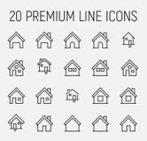Sistema del premio de la línea casera iconos stock de ilustración