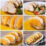 Sistema del prendedero sabroso del pollo de la foto con las naranjas Fotografía de archivo