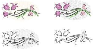 Sistema del ramo de la flor de los cliparts (vector) Imagen de archivo libre de regalías