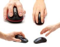 sistema del ratón del equipo diferente con la mano Aislado en el fondo blanco imagen de archivo libre de regalías