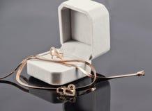 Sistema del regalo de joyería del oro Fotos de archivo libres de regalías