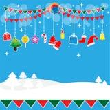 Sistema del regalo de la decoración de la fiesta de Navidad Imagen de archivo