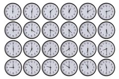 Sistema del reloj aislado aislado en blanco Imagen de archivo