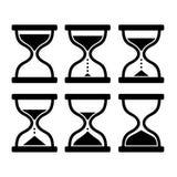 Sistema del reloj de la arena Contador de tiempo de cristal en el fondo blanco Vector Imágenes de archivo libres de regalías