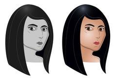 Sistema del retrato del color y del gris de la mujer americana india joven Imagen de archivo