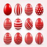 Sistema del rojo de los huevos de Pascua Días de fiesta de la primavera en abril Celebración estacional Caza del huevo domingo ilustración del vector