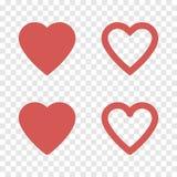 Sistema del rojo del icono del corazón Ilustración del vector Imágenes de archivo libres de regalías
