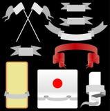 Sistema del rojo y de la cinta de la plata Fotos de archivo