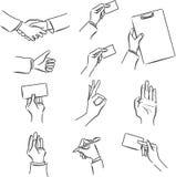 Sistema del símbolo del negocio con la mano stock de ilustración