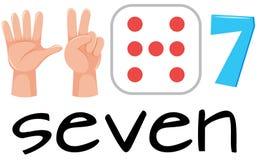 Sistema del símbolo del número siete stock de ilustración