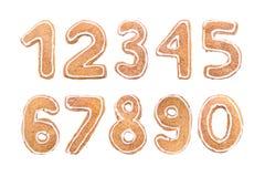 Sistema del ` s del Año Nuevo de números de las galletas del jengibre imagenes de archivo
