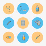 Sistema del ` s del doctor de los iconos simples para tratar enfermedades tales como gripe y frialdad Foto de archivo