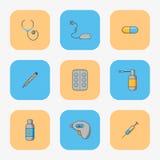 Sistema del ` s del doctor de los iconos simples para tratar enfermedades tales como gripe y frialdad Fotos de archivo