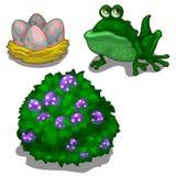 Sistema del sapo, arbusto con las bayas y jerarquía con los huevos ilustración del vector